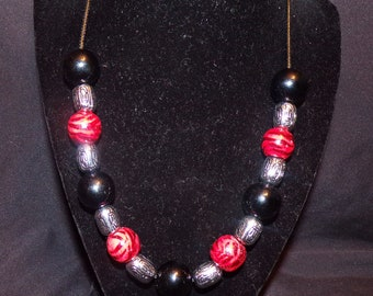 Blackand Red Tiger Stripe necklace