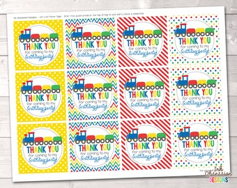 Train Birthday Party Favor Tags Instant Download Printable PDF in Red Blue Green & Yellow with Polka Dots Chevron and Stripes