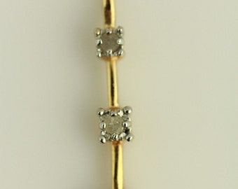 Vintage Sterling Silver Genuine Diamond Pendant Gold Vermiel Gorgeous Design (ET28)