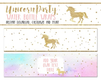 Unicorn Party Water Bottle Wrappers, Editable Printable Unicorn Birthday Party Bottle Wraps, Pink and Gold Unicorn Wrappers INSTANT DOWNLOAD