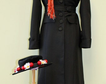 Mary Poppins Nanny Costume - Custom Made Ladies Sizes, Mary Poppins Outfit, Custom Woman Costume, Adult Mary Poppins Costume