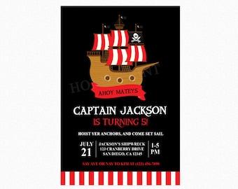 Pirate Ship Birthday Party Invitation, Pirate Invitation, Pirate Party, Boy, Red White Stripes, Printable or Printed Invitations