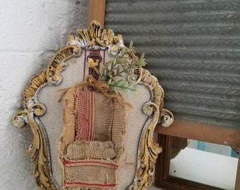 Art Assemblage Wall Art Wall Hanging French Cottage chic Miniature Furniture Arm Chair Distressed Home Decor