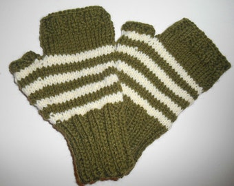 Adult Mens Fingerless Gloves, Olive Green and Cream Stripes, Large to X Large,