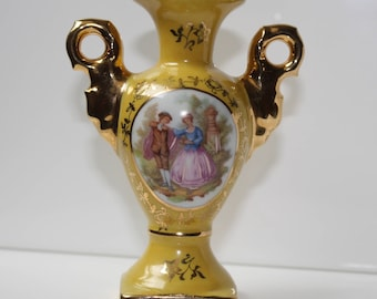 Limoges Bright Yellow Bud Vase with Gold Accents - Fragonard Lovers