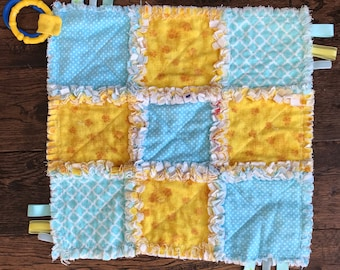 Cuddle / Security Blanket , yellow and blue