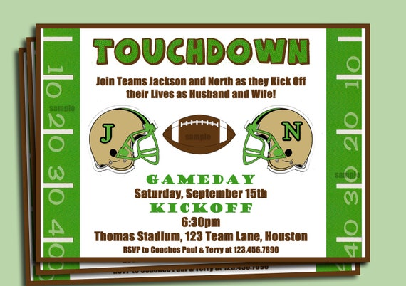 Football Couples Wedding Shower Invite