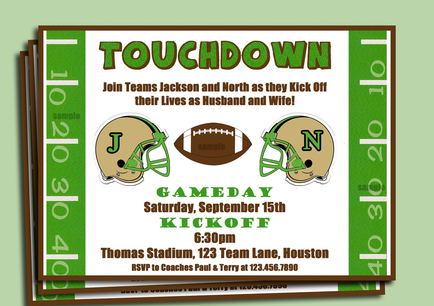 Football Couple\'s Shower Engagement Party Invitation