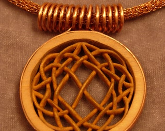 HAND CARVED Celtic Knotwork Wood And Copper Necklace Truly Unique