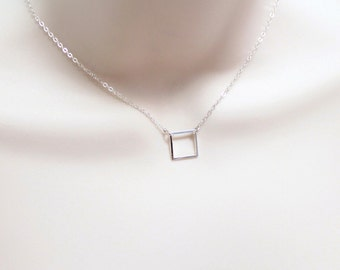 Geometric Necklace, Dainty Necklace, Small Square Pendant, Minimalist Jewelry, Modern, Simple Sterling Silver Necklace, Gift for Women