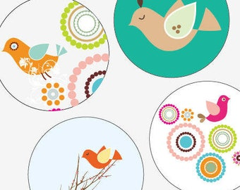 Birdie Party Collage Sheet - 12mm x 12mm Round Earring and Pendant Images - Buy 2 Get 1 Free - Instant Download - Earring Images