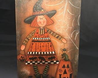 Witch, Halloween, Laurie Speltz, Pumpkin, Holiday Decor, Tangling, Bats, Tag, Decor, free shipping