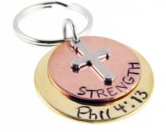 Strength Hand Stamped  Philippians 4:13  Scripture Key chain | Cross  | Unique Gift | Holiday Stocking Stuffer | Gifts for Everyone