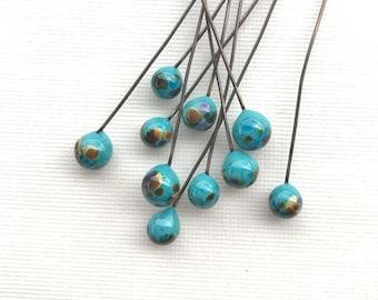 Bird's Eggs Lampwork, Bird Nest Headpins, Bird Egg Headpins, Artisan Lampwork Ballpins, Turquoise Lampwork, 10 Pcs, Dry Gulch, Tropicali