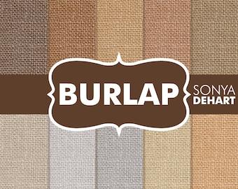 "80% OFF SALE Burlap Digital Paper ""Burlap Paper"" Linen Jute Fabric Textures Scrapbooking Cards"
