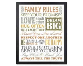 Family values House Rules Family Rules Sign Christian family wall Art Christian art Family rules poster Family quotes Christian values print