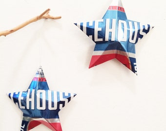 Icehouse Beer Stars, Set of 2, Christmas Ornaments Aluminum Can Upcycled