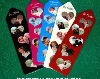 Personalized bookmark photos in 5 double-sided hearts