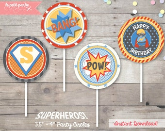 "DIY printables - SUPERHEROS (Boys) Party - 3.5""- 4"" Big Party Circles - Birthday Party Decoration - Instant Download - Be a Hero"