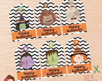 Halloween, Halloween tags, Halloween favor tags, kids halloween tags, Halloween party, Halloween treat tags, Halloween characters tags.