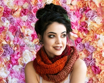 Orange Hand Knit Scarf, Orange Boucle Scarf, Hand Knit Scarf, Orange Scarf, Lightweight Scarf, Fashion Scarf