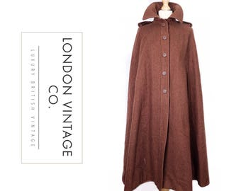 Vintage 1970's chic brown long/full length military style wool cape/cloak/coat.ww2/goodwood revival/vintage costume