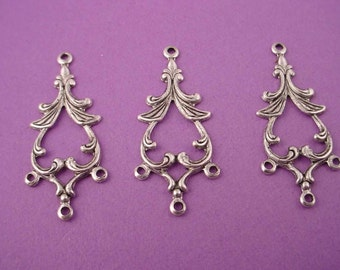 6 silver ox open floral pagoda art nouveau triple charms chandelier 30mm