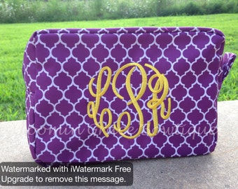 Monogrammed Makeup Bag - Personalized Makeup Bag - Cosmetic Bag - Makeup Pouch - Bridesmaid Gift - Gift for her - Toiletry Bag - Chevron