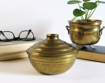 Vintage Brass Bowl with Lid - Storage Container - Covered Brass Dish - Brass Home Decor - Brass Valet Tray Catchall Bowl - Office Desk Decor