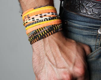 Bracelet Men, Yellow Bracelet, Neon Bracelet, Neon Jewelry, Burning Man, Boyfriend, Boyfriend Gift, Men Gifts, Wrap Bracelet, Mens Jewelry