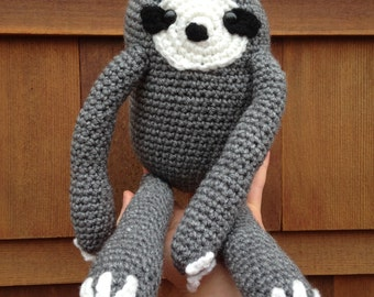 Handmade crochet sloth- stuffed animal sloth- knit plush sloth- handmade chubby sloth- stuffed toy sloth