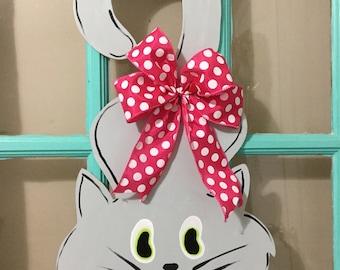Grey Cat Wooden Door Hanger