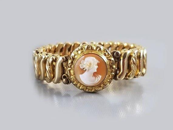 Vintage Art Deco gold filled DF Briggs Carmen stretch expansion cameo sweetheart childs bracelet