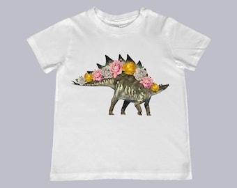 Youth Stegosaurus Dinosaur with roses Tee - youth, toddler, infant sizes