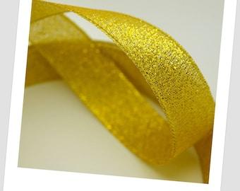 2.5 metres of Ribbon 10mm - gold - organza