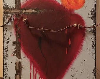 My Twisted Heart Mexican Sacred Heart Original Painting