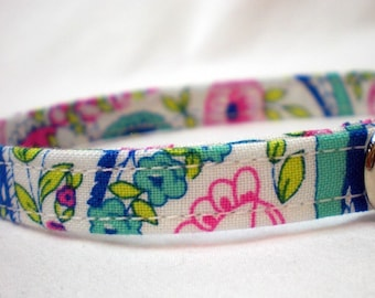 Blue Cat Collar Jennifer Paganelli Fabric Paisley Pink Girl Flowers