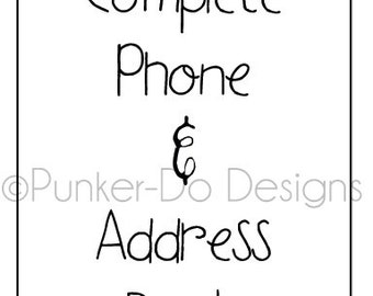 Editable Phone and Address Book coordinates Home Management Binder - Instant Download - printable pdf by PunkerDo Designs