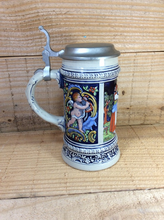 Vintage West Germany beer stein, Old Gerz stein beautiful and colorful vintage beer stein, vintage stein collectibles, Ausunserem Firmen