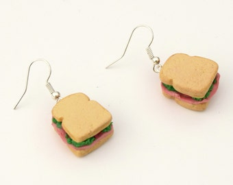 sandwich fimo polymer clay greed kawaii snack food jewelry sandwich earrings