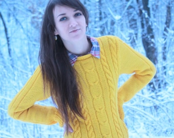 Hand Knit Sweater/ Knitted sweater/ Woman sweater/ Yellow sweater