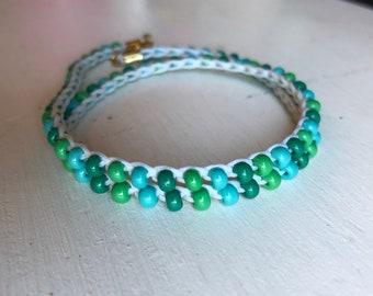 Green Spectrum Handmade Crochet Wrap Bracelet