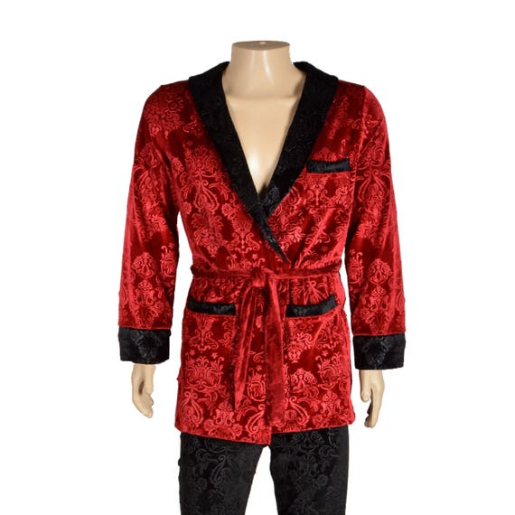 Signature Hugh Hefner Velvet Smoking Jacket Lounge Pants