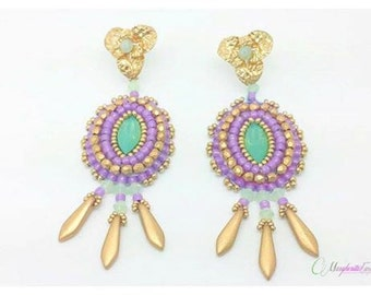Bead embroidery tutorial. Acapulco earrings pattern. How to make a pair of earrings