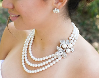 Bridal pearl and crystal necklace Statement Bridal necklace Wedding Rhinestone necklace ivory swarovski crystal and pearl necklace SHARON