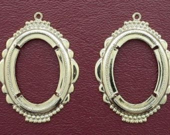 two gold plated 30x22  ornate pendant mounting