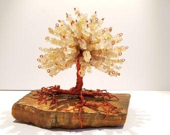 Yellow Agate & Tigers Eye Healing Gemstone Tree