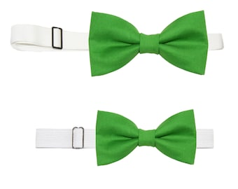 Choice of 1 Men's or Boy's Grasshopper Green Pre-Tied Cotton Bow Tie On Adjustable Strap