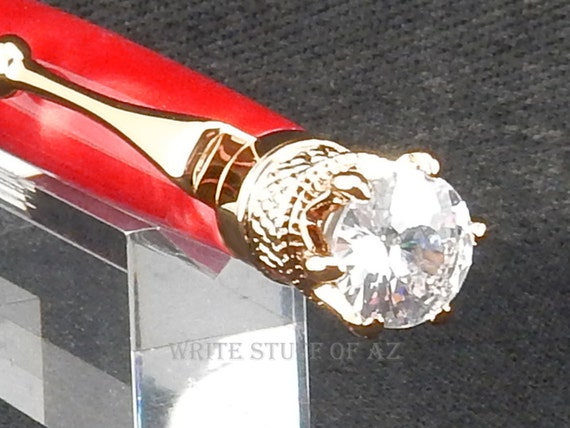 Mother's Day Ruby Red Satin Twist Pen, Adorned with Swarovski Crystal
