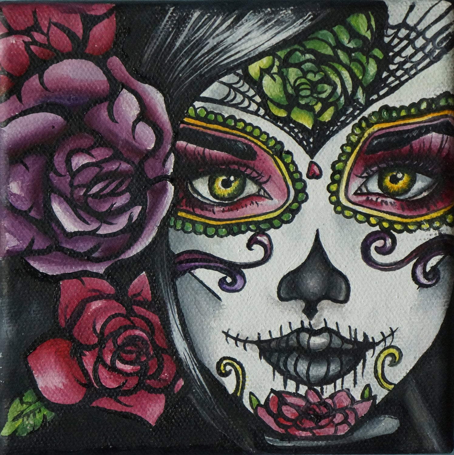 ?zoom  sc 1 st  Etsy & Carolina STRETCHED CANVAS PRINT Day of the Dead Art